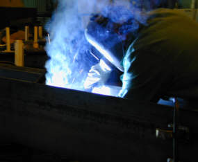Welder making Stick Weld - SMAW